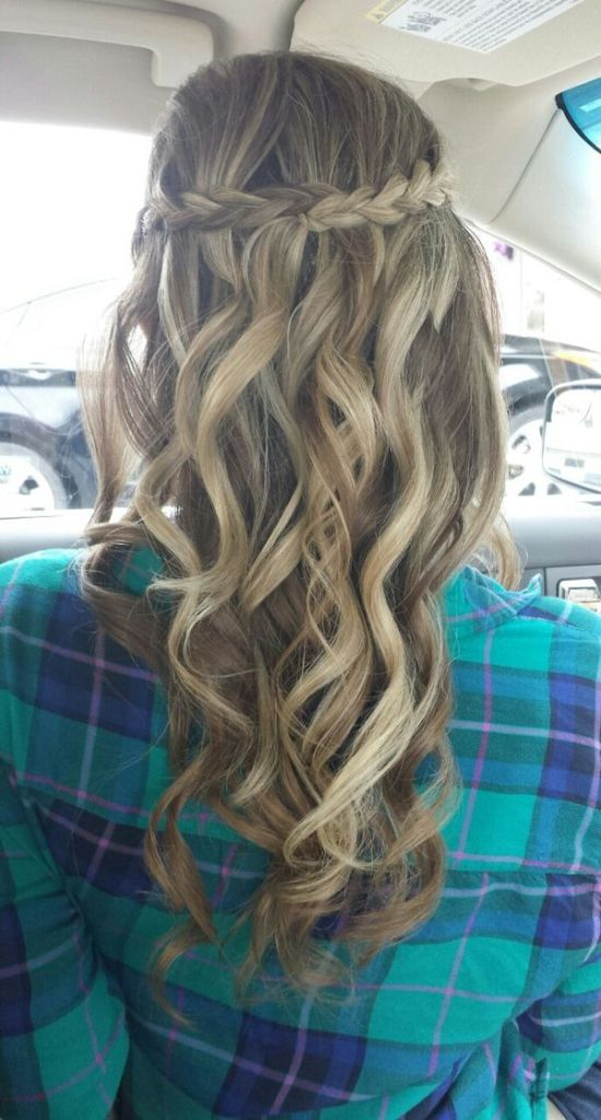 Long curled locks with braided crown