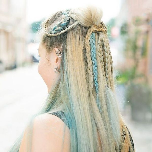 Half-Up Style with Tiny Braids and Bluish Strands
