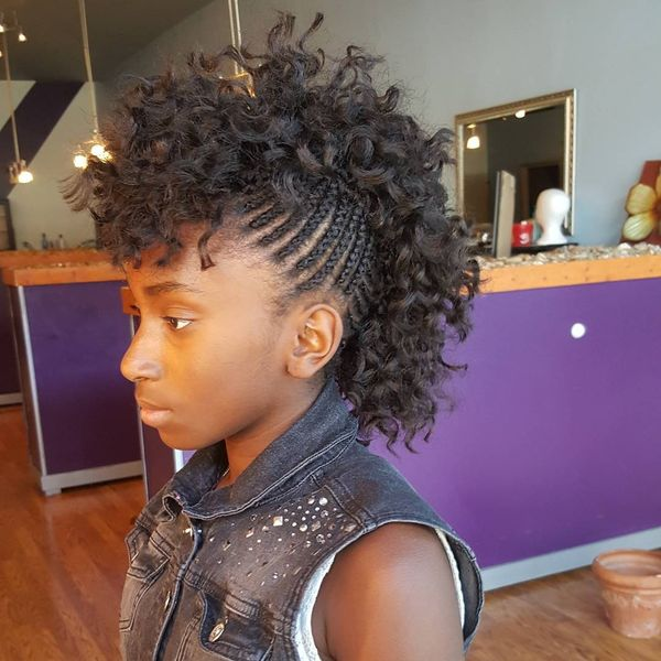 Crochet Mohawk Hairstyle with Cornrows