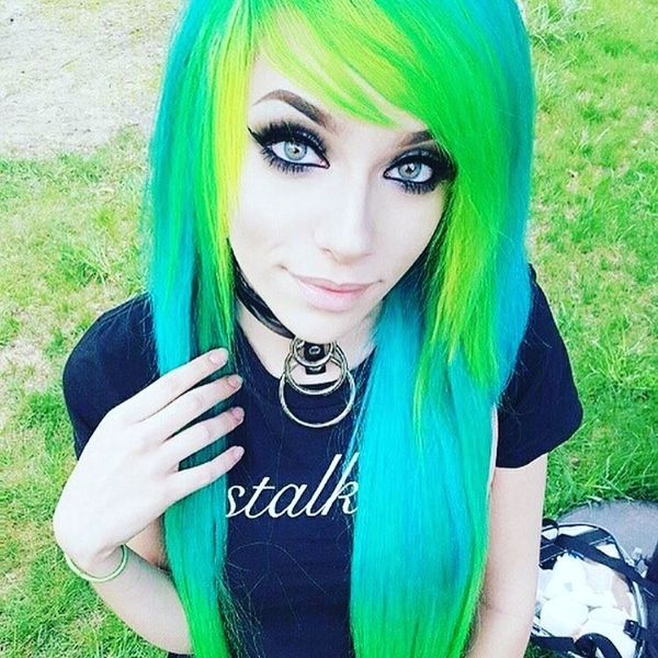 Extremely bright blue and green emo hairstyle