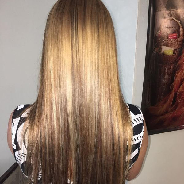 The dense highlights on the straight long hair