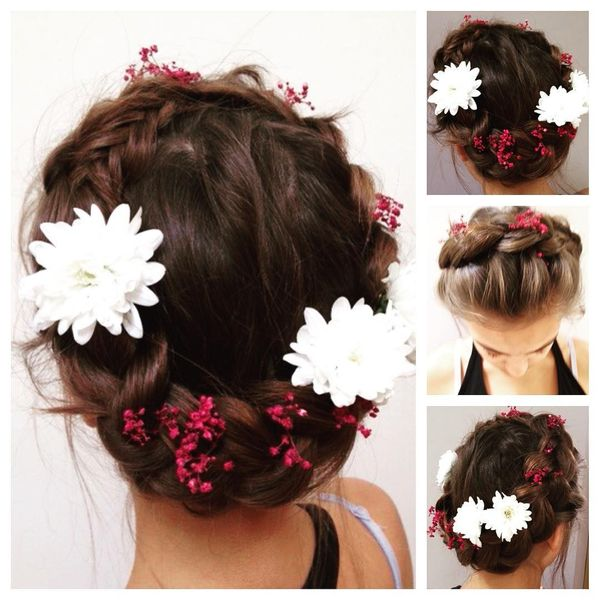 Braided wreath with flowers