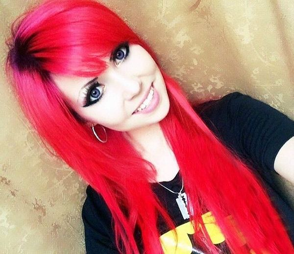 Long hair dyed in strawberry color