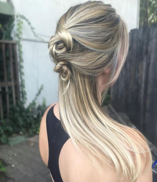 Foil Highlights + Balayage Knotted Half-Up