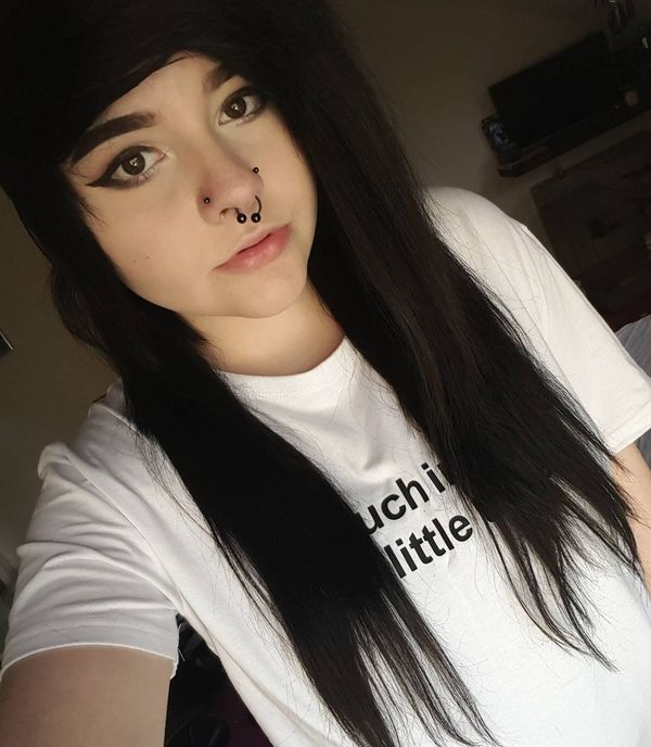 Traditional long emo hairstyle with a side bang