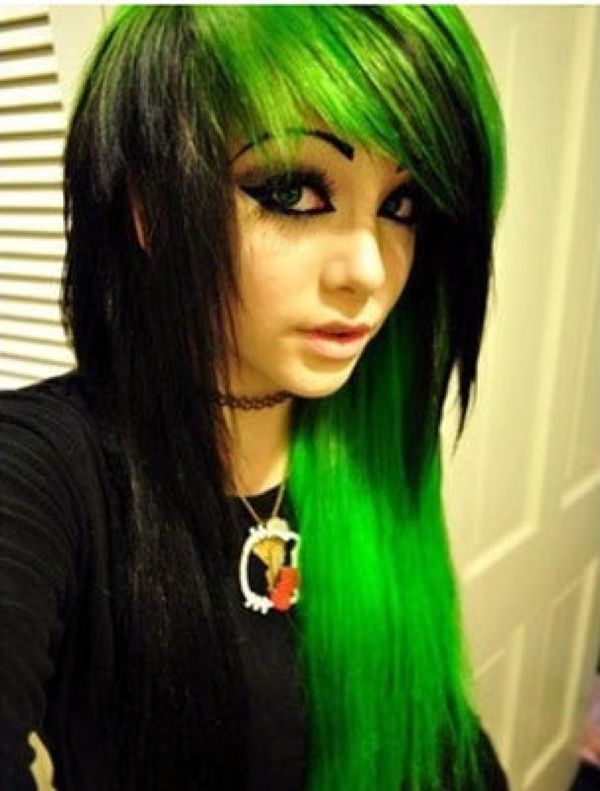 Long emo hairstyle with black and acid green colors