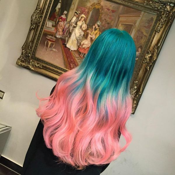 The Crazy Pink and Emerald Balayage