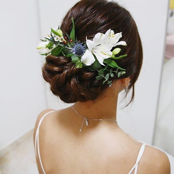 Updo with Fresh Pretty Blooms