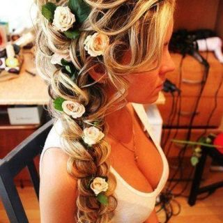 Braid with roses