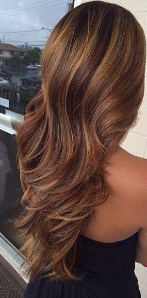 The shaded lowlights and highlights on the brown-caramel hair