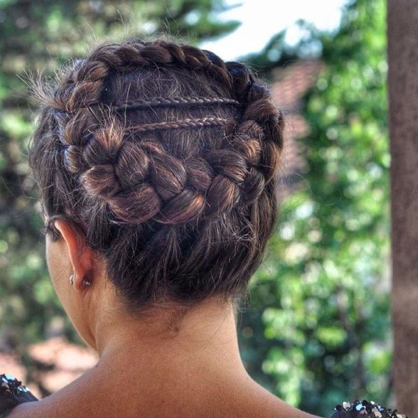 Braids crown on the back