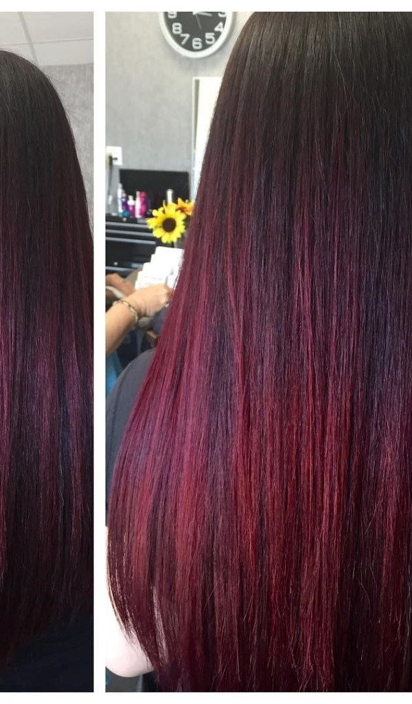 burgundy hair with dark red purple