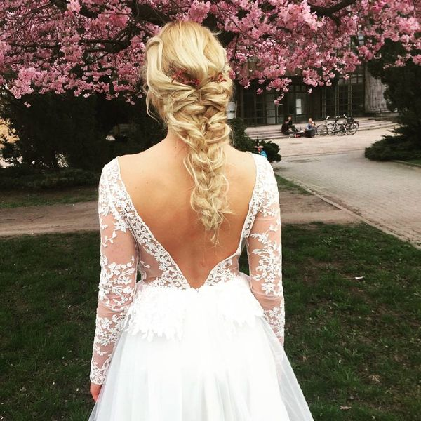 Messy blond braid