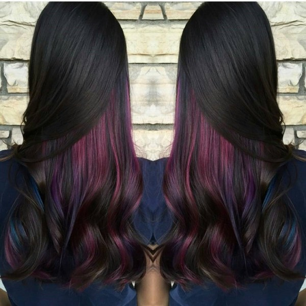 The mix of burgundy, purple and black