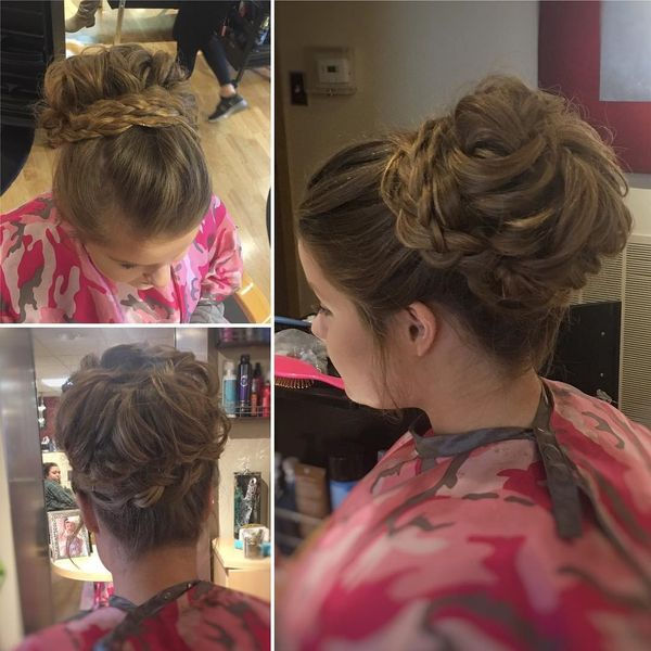 Wavy bun with plaits