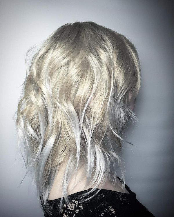 White blond shaggy hairstyle