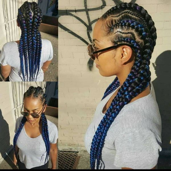 how to style black girl hair hairstyles for black afro hair 3815 | 1 Black Blue Cornrows For Long Hair