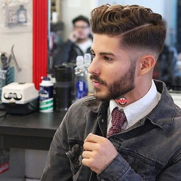 Side-parted undercut with the wavy crown