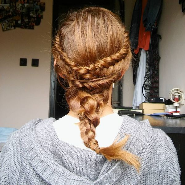 Messy braid with a twisted crown