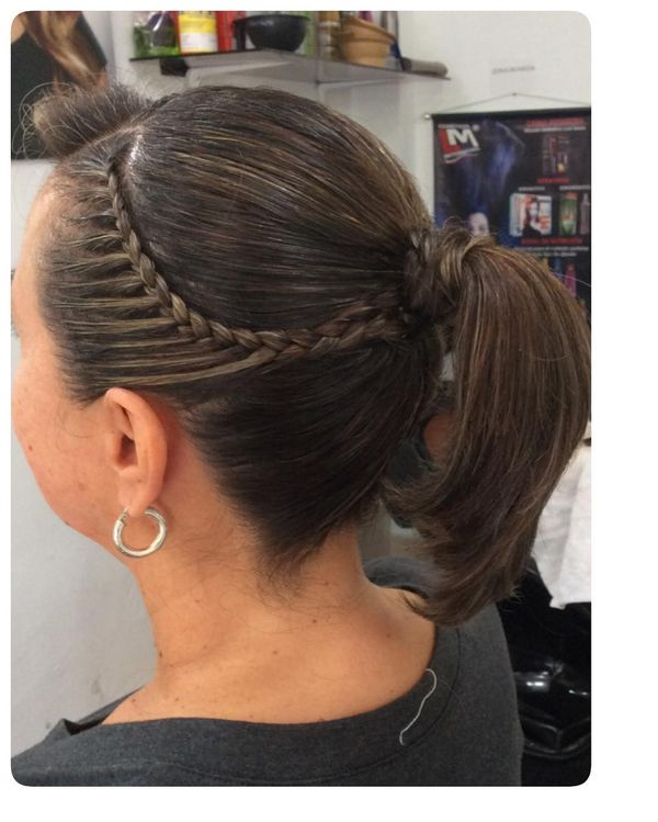 Braided side with a ponytail
