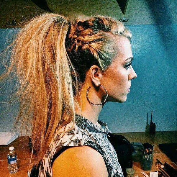 Careless Ponytail with Upswept Braids