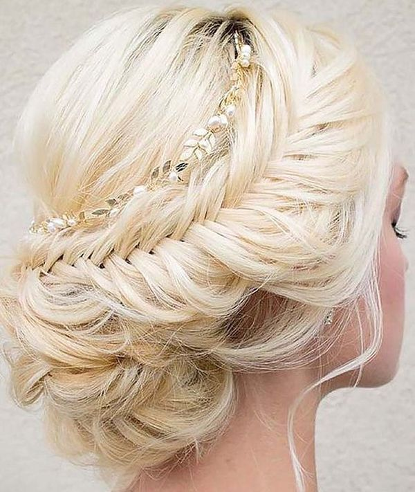 Fishtail Low Hairstyle with a Pretty Headpiece