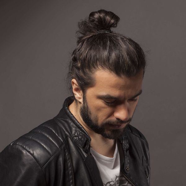 Full man bun with long hair 3