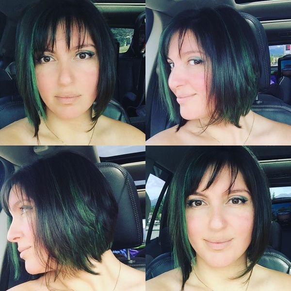 Incredible Black Bob with Green Strands