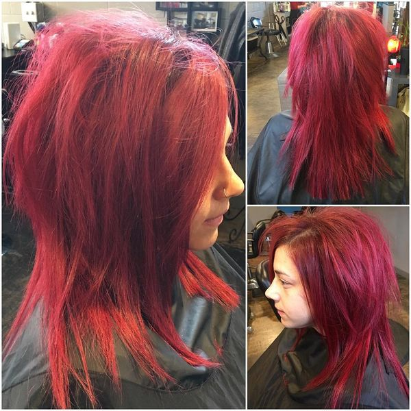 Red Long Shag Haircut