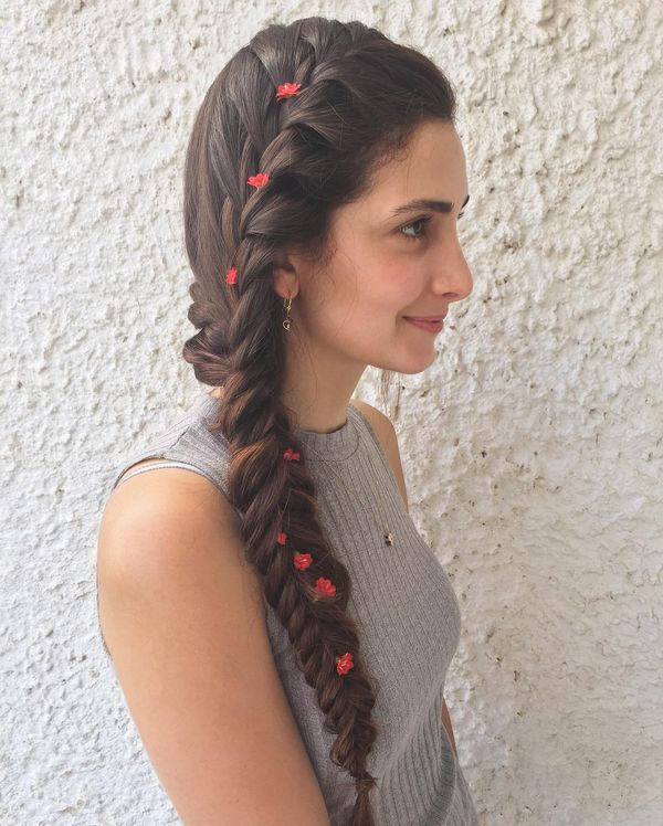 Side Braid with the Red Floral Design