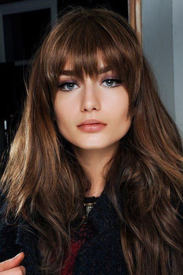 Cool long layered hairstyles with full front bangs 2