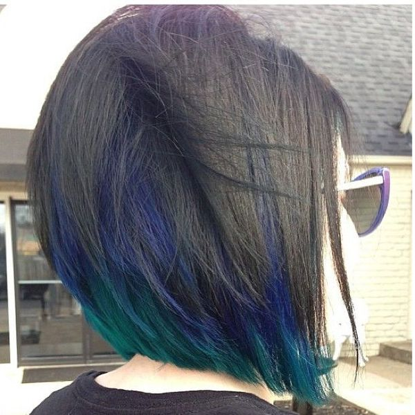Peacock Peekaboo Hair Color in Dark Hair 1