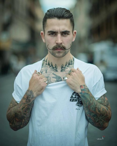 Hot Male Hipster Hairstyles with Handlebar Mustache 2