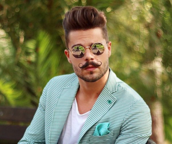 Hot Male Hipster Hairstyles with Handlebar Mustache 1