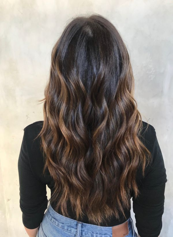 Dark brown hair with highlights 2