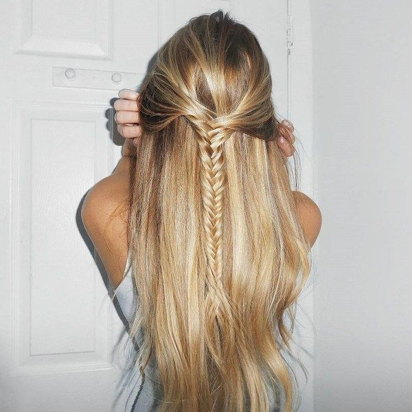 Half up half down long hairstyles with braids 3