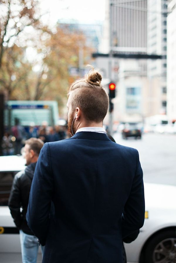Sexy Male Hairstyle Undercut Top Knot 3