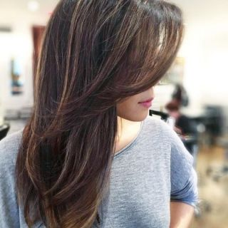 Stylish Long Layered Bobs With Side Swept Bangs 3