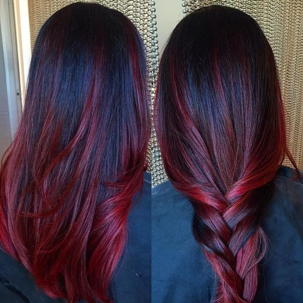 Cool Hairstyles For Dark Brown Hair With Bright Red Highlights 1