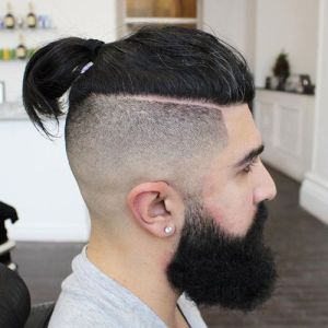 Pony tail + Undercut fade