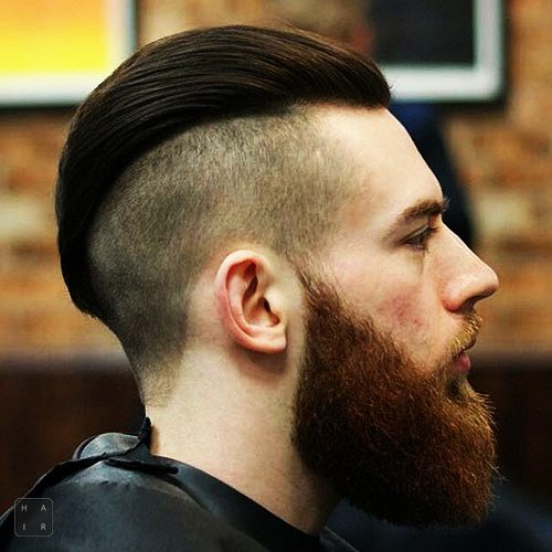 Slicked Back Undercut with Long Beard-men's haircuts-men's hairstyles-the hair trend
