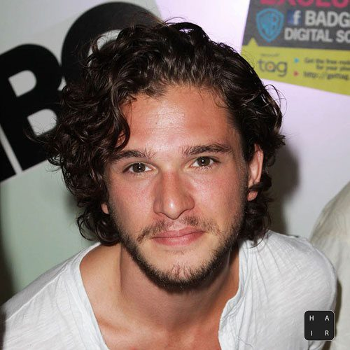 Kit Harington Hair-Thick Flowing-Curly Hair with Beard-mens hairstyles