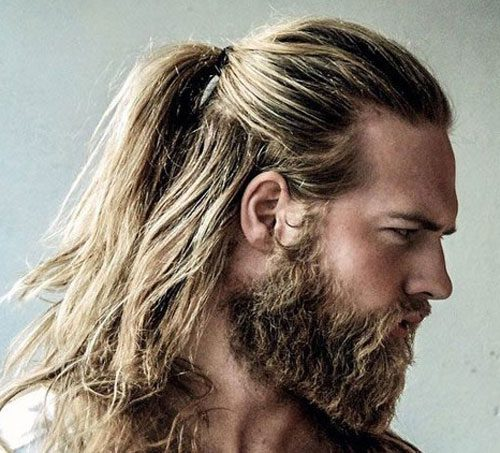 Ponytail With Full Beard