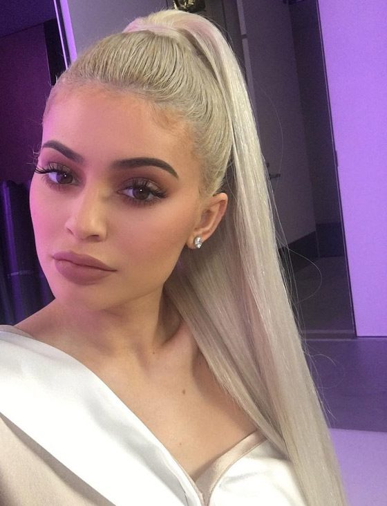 Kylie Jenner Hairstyles- Silver Blonde High Ponytail-women hair styles