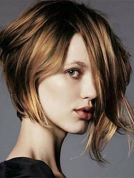 short hairstyles for women-Wavy Asymmetrical Bob