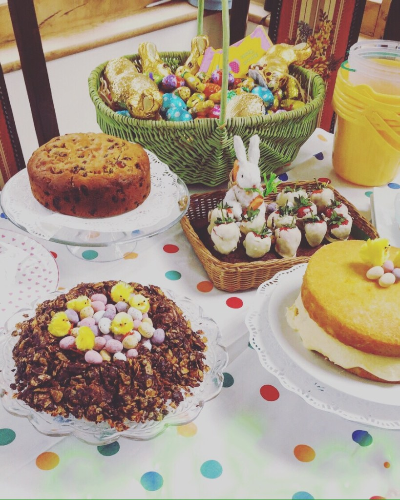 easter cakes with yellow chicks and bunnies on spotty table cloth