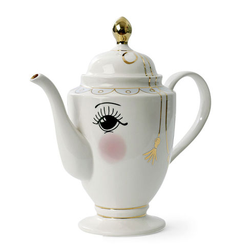 large white coffee pot with face