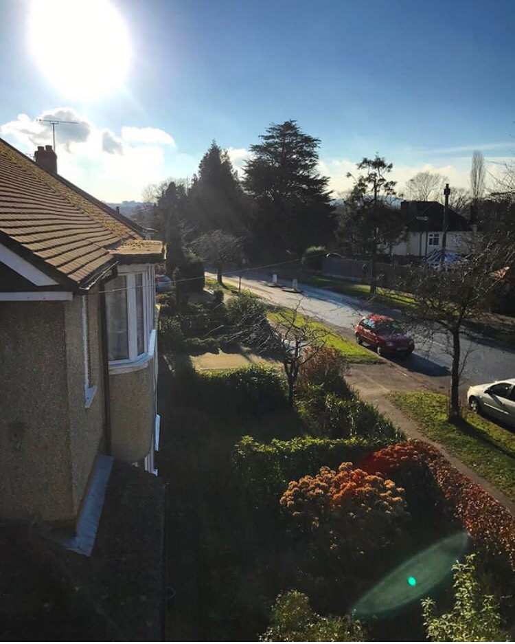 image of street from roof, sunny day