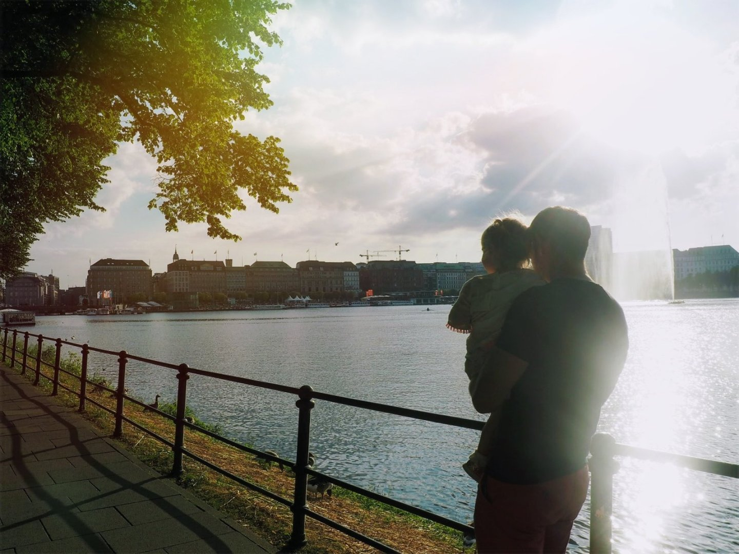 Daddy and Daughter at Binnenalster Lake Hamburg with a Toddler | Ettie and Me