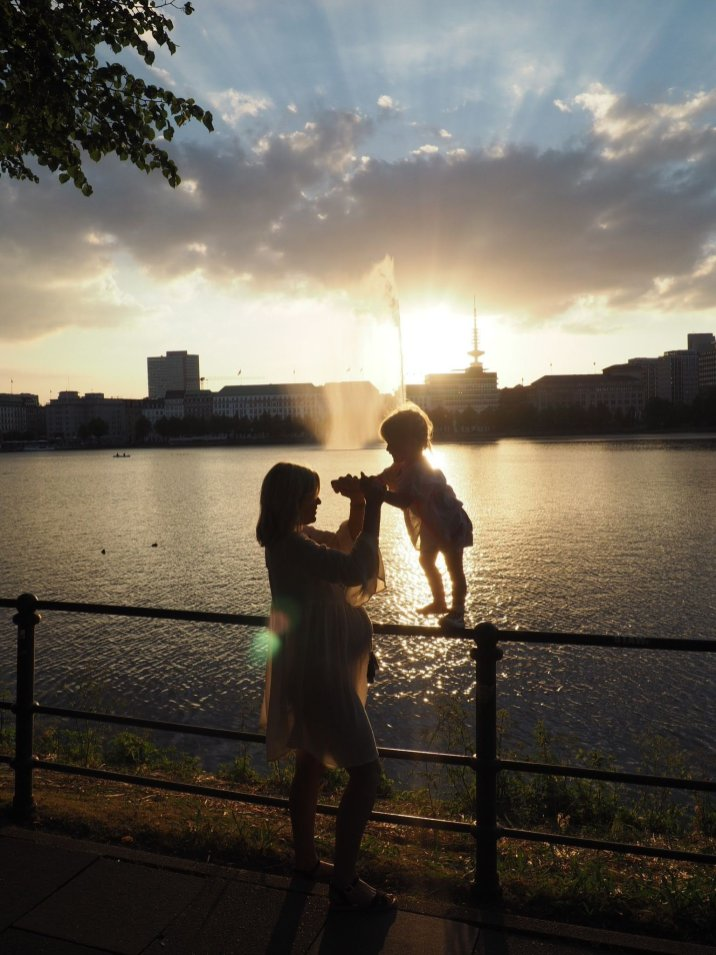 MOther and daughter at sunset, Hamburg with a Toddler | The Halcyon Years